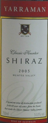 Yarraman Estate Classic Hunter Shiraz 2005